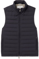 Brunello Cucinelli Quilted Shell Down Gilet - Navy