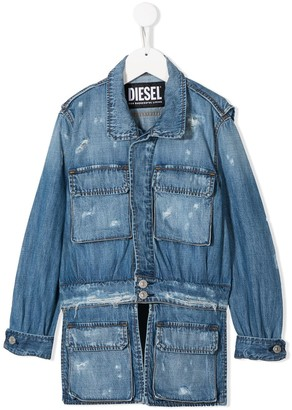 Diesel Distressed Multi-Pocket Denim Jacket