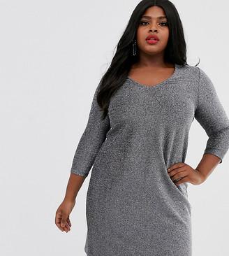 Junarose metallic shift dress-Silver