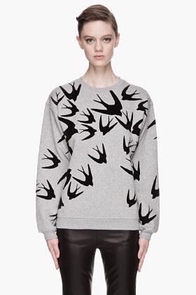 McQ Heather grey Swallow Sweatshirt