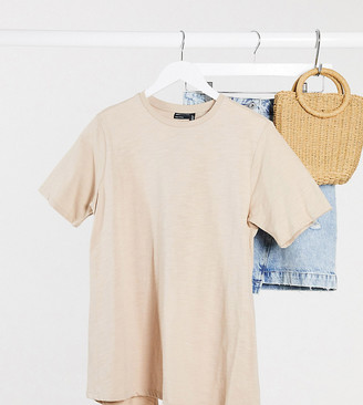 ASOS DESIGN Maternity textured t-shirt with wrap back in taupe