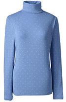 Lands' End Women's Petite Shaped Layering Turtleneck-Frost Blue Tiny Dot