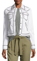 A.L.C. Hayden Studded Stretch Denim Jacket, White