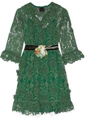 Anna Sui Camilla Velvet-Trimmed Crocheted Lace Mini Dress