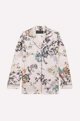 MENG - Floral-print Silk-satin Pajama Shirt - Pastel pink