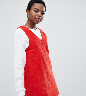 Noisy May Petite mini corduroy pinafore in red