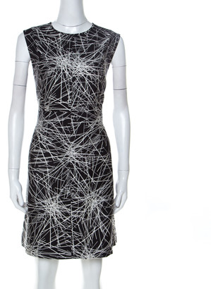Diane von Furstenberg Monochrome Printed Wool and Silk Blend Madyson Dress L