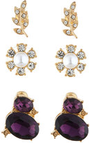 Lydell NYC Mixed Crystal & Pearl Stud Earring Trio, Set of Three, Gold