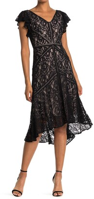 Taylor Lace Flutter Sleeve Midi Dress