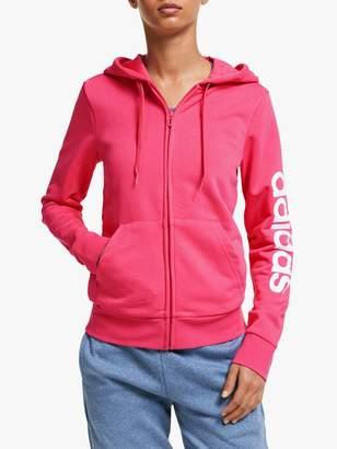 adidas Essentials Linear Full Zip Hoodie, Bliss Pink