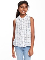 Old Navy Relaxed Sleeveless Dobby Shirt for Girls