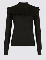 M&S Collection Sparkly Ruffle Yoke Funnel Neck Jumper