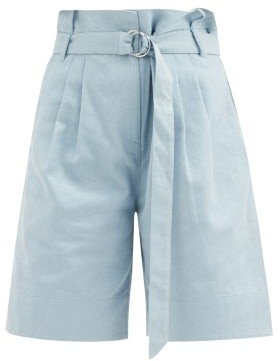 Tibi Stella Belted Cotton-drill Wide-leg Shorts - Light Blue