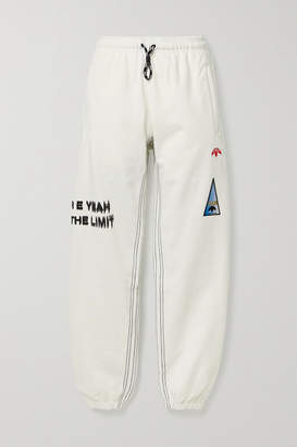 Adidas Originals By Alexander Wang Appliqued Printed Cotton-jersey Track Pants - Off-white