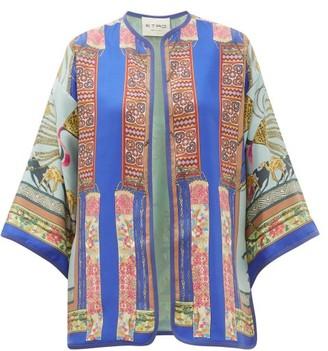 Etro Giglio Scarf-print Silk Jacket - Womens - Blue Multi