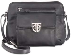 Giani Bernini Hardware Double-Zip Nappa Leather Crossbody, Created for Macy's