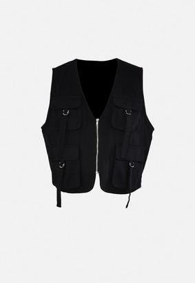 Missguided Black Utility Sleeveless Jacket