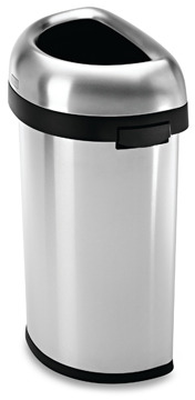 Simplehuman 60-Liter Semi-Round Brushed Stainless Steel Open Can
