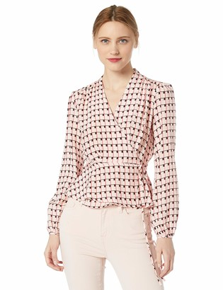 ASTR the Label Women's Long Sleeve Wrap Front Geo Print Blouse Top