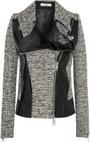 Bouchra Jarrar Wool-blend tweed and faux patent-leather jacket