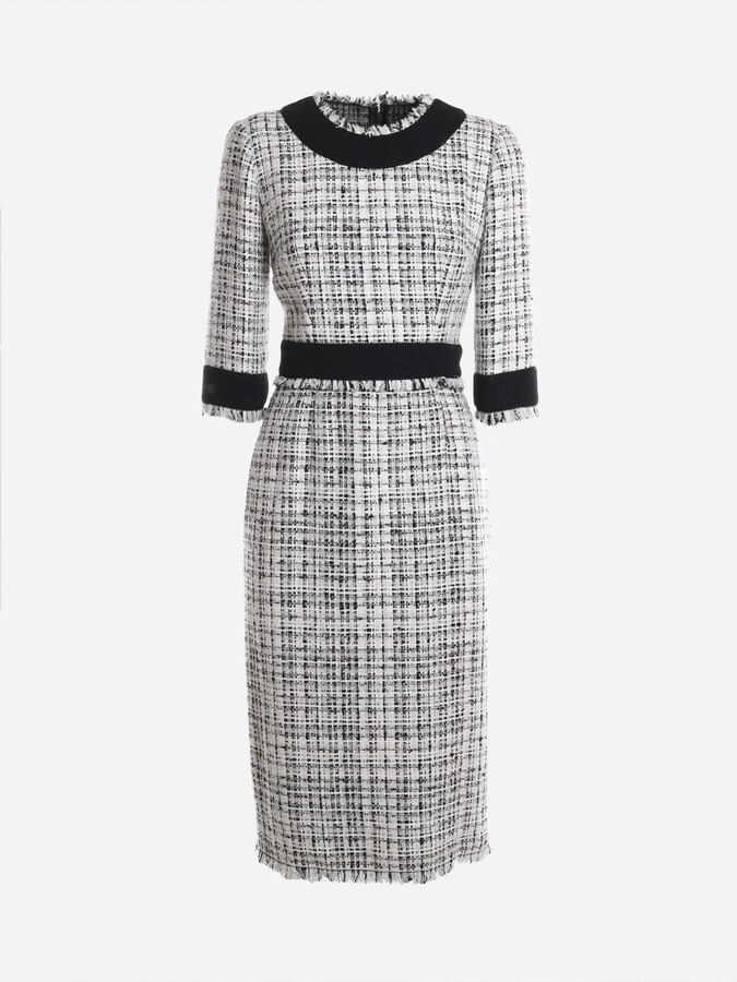 Dolce & Gabbana Longuette Dress In A Mix Of Black And White Yarns