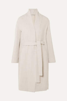Vince Belted Wool-blend Boucle Coat - Light gray