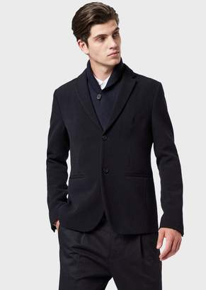 Emporio Armani Jacket In Textured Wool Blend With Removable Shawl Collar