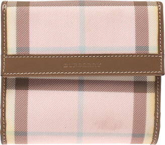 Burberry Pink/Brown House Check PVC and Leather Compact Wallet