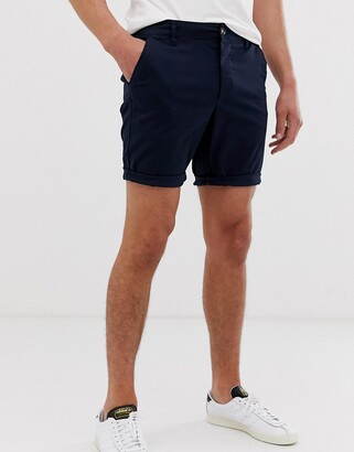 Asos Design DESIGN skinny chino shorts in navy