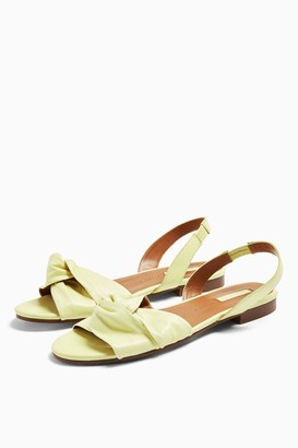 Topshop LUCKY Yellow Leather Knot Slingback Flat Shoes