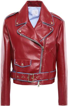 Stella Jean Embroidered Faux Leather Biker Jacket