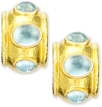 Elizabeth Locke 19k Gold Aquamarine Hoop Earrings