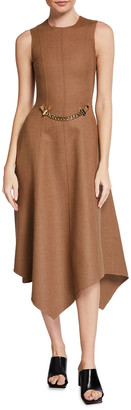 J.W.Anderson Asymmetric Stretch Wool Midi Dress w/ Detachable Chain