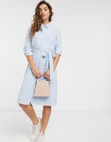 Pieces check midi shirt dress with tie waist