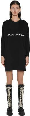MM6 MAISON MARGIELA Logo Jersey Panel Wool Jumper Dress
