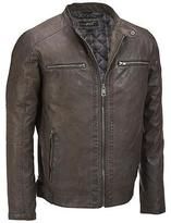 Black Rivet Mens Big & Tall Faux-Leather Cycle Jacket W/ Quilted Lining
