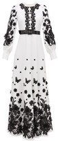 Andrew Gn Balloon Sleeve Lace-appliqued Crepe Gown - Womens - White Black
