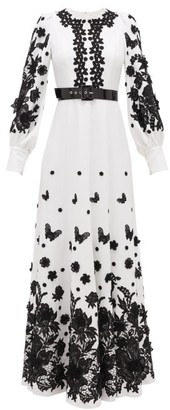 Andrew Gn Balloon Sleeve Lace-appliqued Crepe Gown - White Black