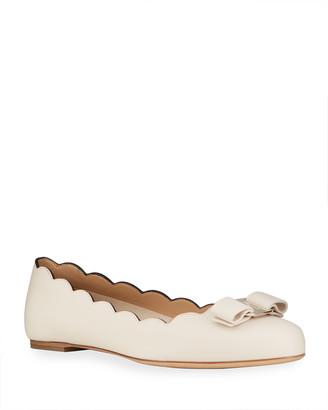 Salvatore Ferragamo Varina Leather Scallop Bow Ballerina Flats, Bone