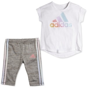 adidas Little Girls 2-Pc. Aeroready Logo-Print T-shirt & Tights Set