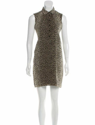 Saint Laurent Sleeveless Leopard Print Dress Brown