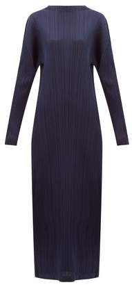 Pleats Please Issey Miyake Tech-pleated Maxi Dress - Womens - Navy