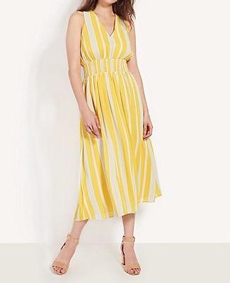 Ann Taylor Stripe Smocked Waist Maxi Dress