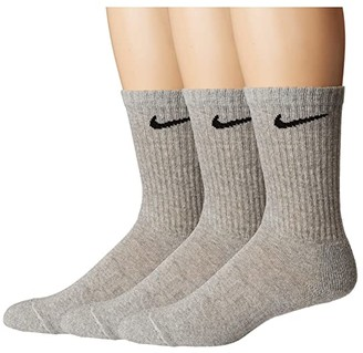 Nike Everyday Cushion Crew Socks 3-Pair Pack (Dark Grey Heather/Black) Crew Cut Socks Shoes