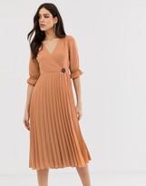 Asos Design DESIGN pleated wrap midi dress in self stripe with coconut button