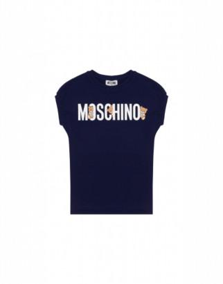 Moschino Teddy Logo Dress Woman Blue Size 4a It - (4y Us)