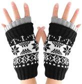 uxcell Mens Snow Pattern Design Knitting Fingerless Gloves Black White