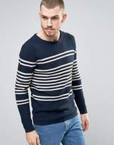 Selected Knitted Jumper In 100% Cotton Bretton Stripe