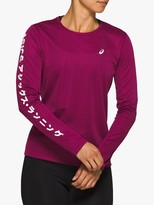 Asics Katakana Long Sleeve Running Top, Dried Berry