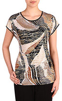 Allison Daley Wide Crew-Neck High-Low Hem Printed Tunic